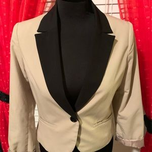 Cream with black collar  blazer